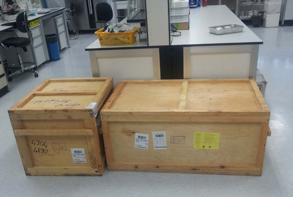 The laboratory equipment (benzene line) in boxes